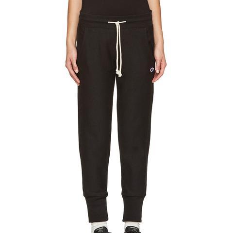 Reverse Weave Black Small Logo Lounge Pants