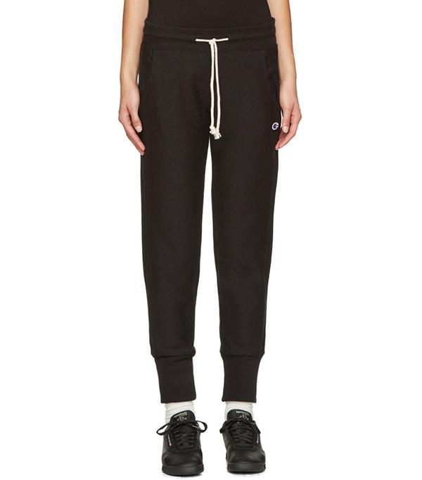 Champion Reverse Weave Black Small Logo Lounge Pants