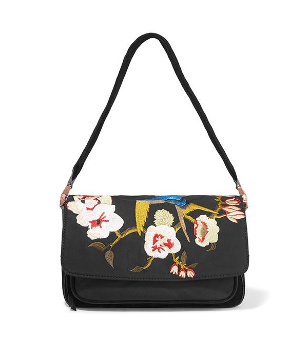 Willa Suede and Embroidered Shell Shoulder Bag by Elizabeth and James