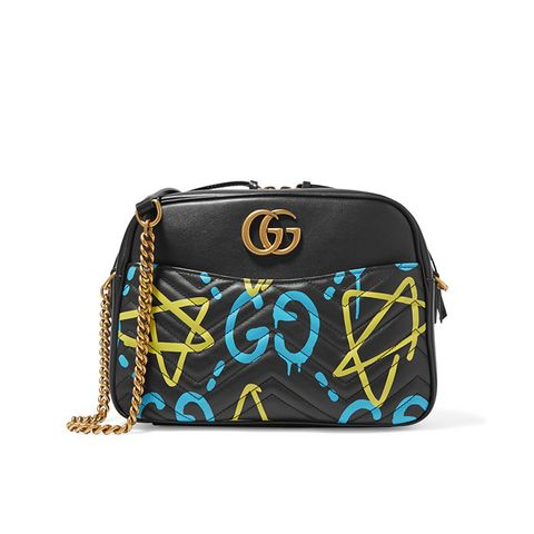GucciGhost Print Leather Shoulder Bag