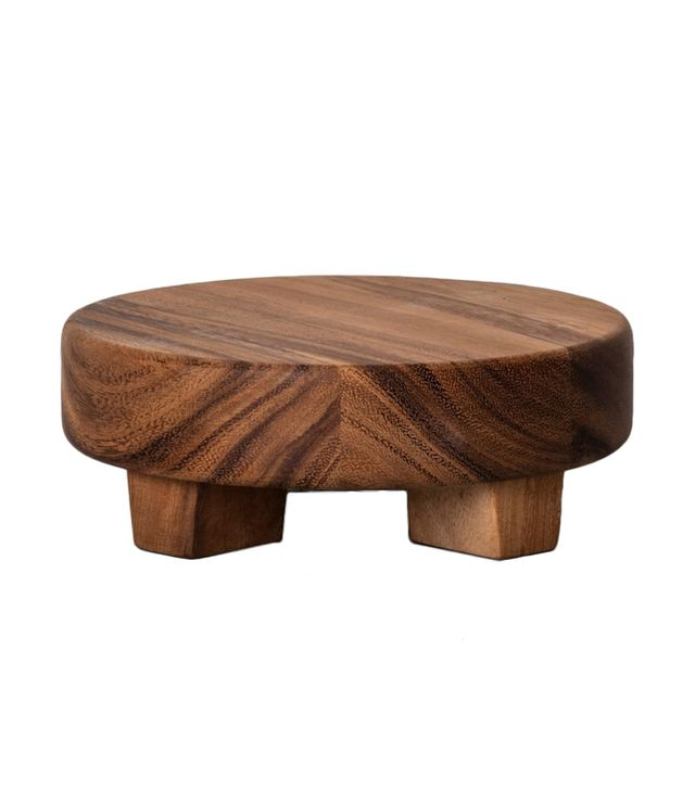 Hearth & Hand With Magnolia Acacia Wood Round Footed Tray