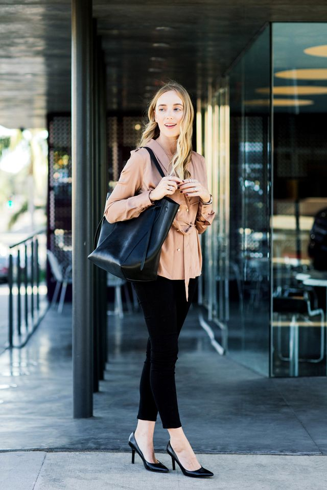 "In the blogger world, meetings often take place in showrooms or restaurants rather than boardrooms. For that reason, style and comfort are key. ""Sleek, black skinny jeans are great, since I..."