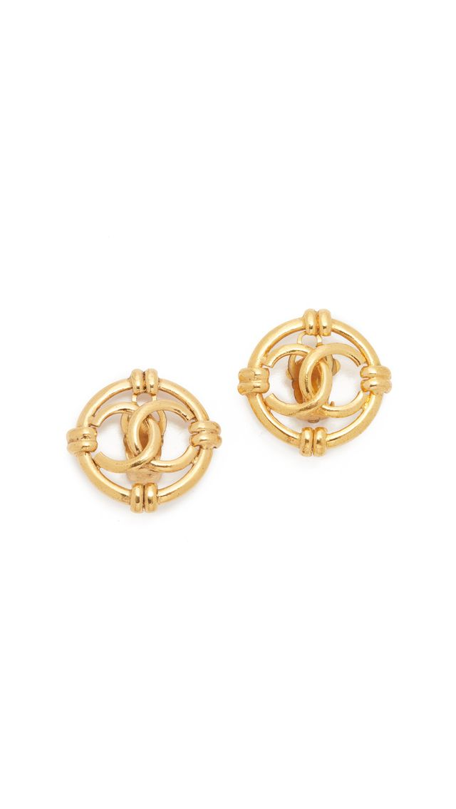Chanel Vintage Nautical Round Earrings