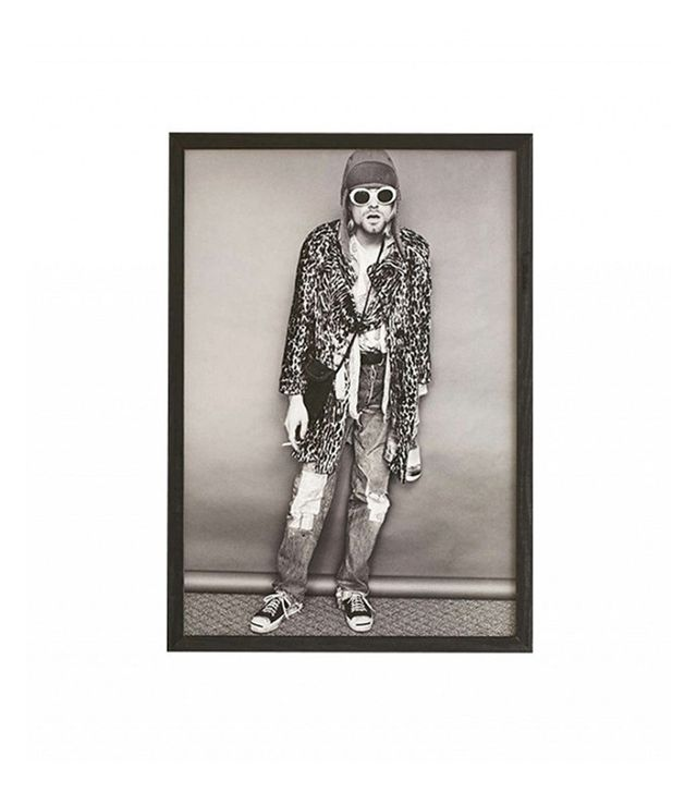 Urban Outfitters Black + White Kurt Cobain Framed Art Print