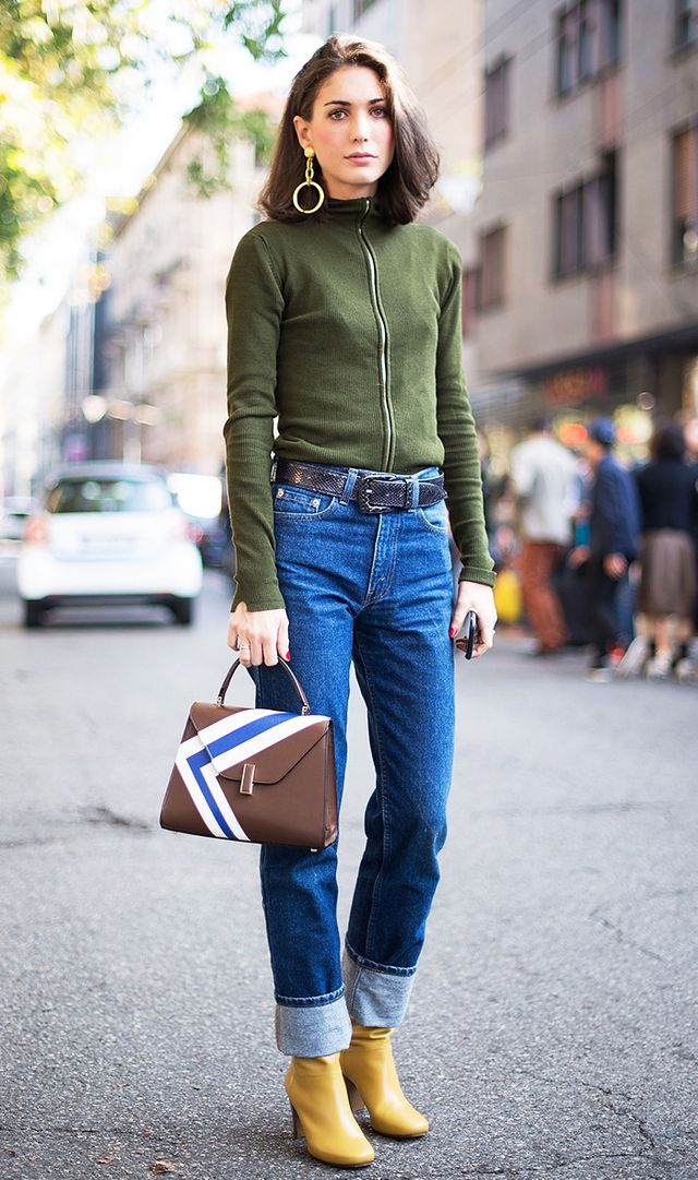 1. Turn any jeans into a statement pair by cuffing them extra high with no second fold.