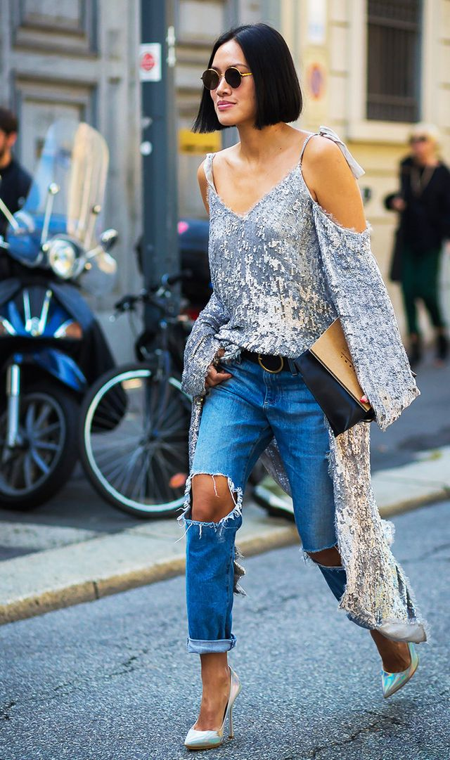 5. Instantly dress down a going-out top with a pair of casual, cuffed jeans.