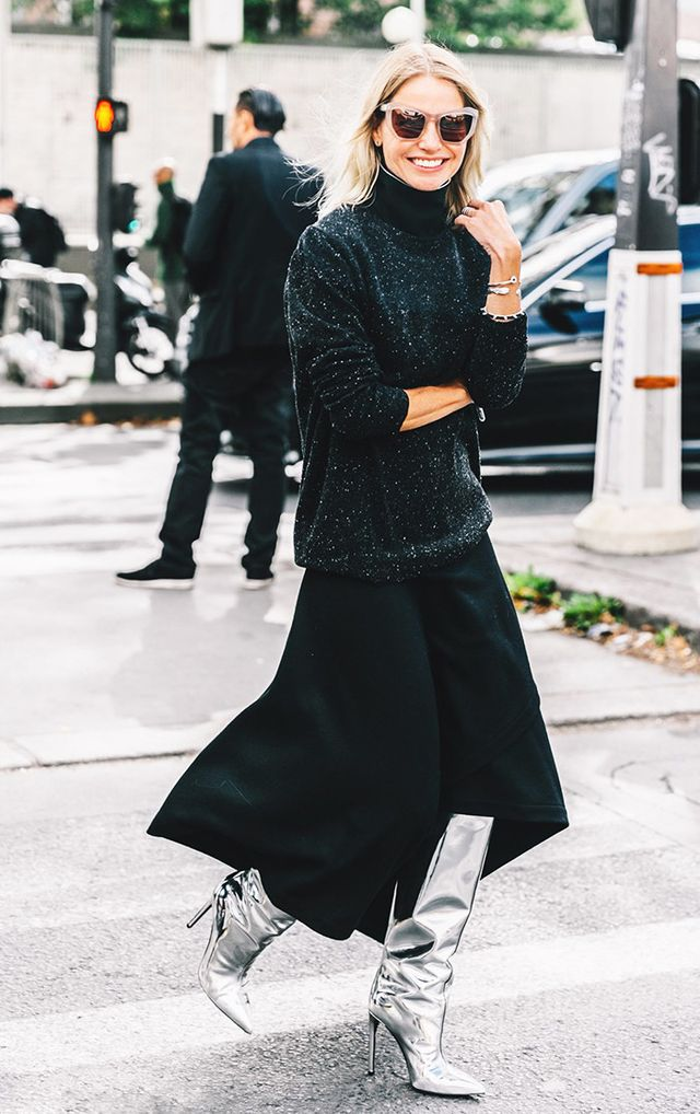 Paris Fashion Week street style shoe trend.