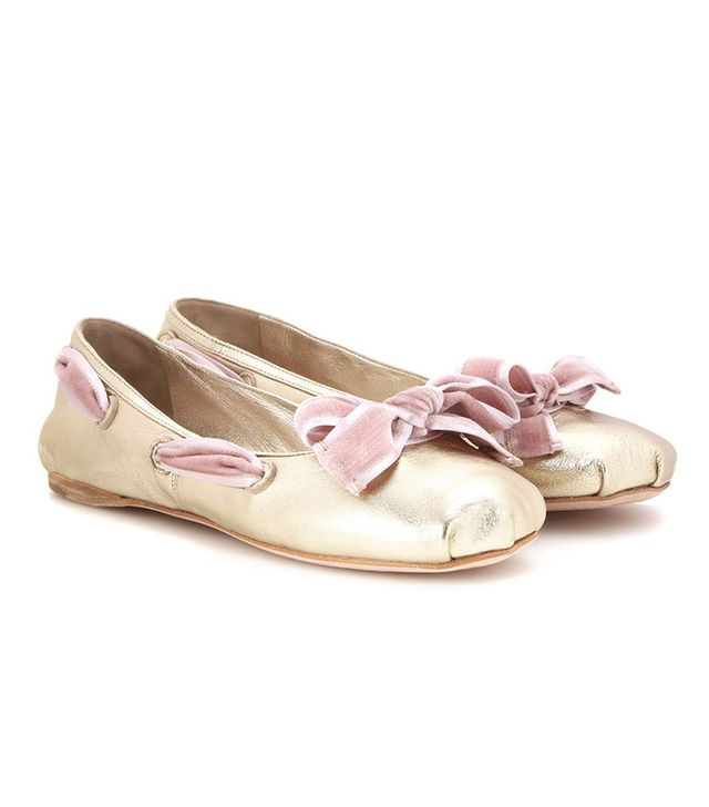 Miu Miu Metallic Leather Ballerinas