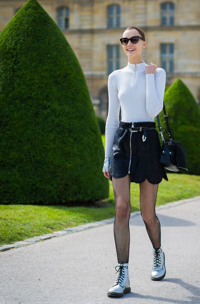 Fishnets are probably best saved for days when your interaction with the chilly air is kept to a minimum, but if you're feeling brave, we love them styled with a black leather skirt, a mock...