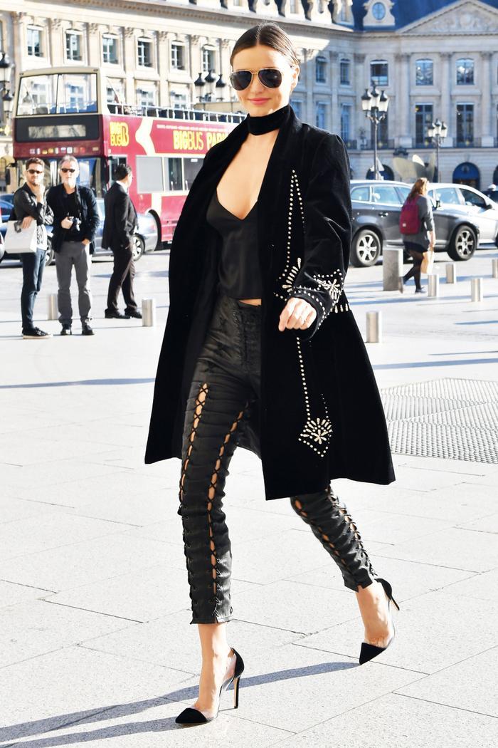 Miranda Kerr Unravel Lace Up Leather Pants Paris 2016
