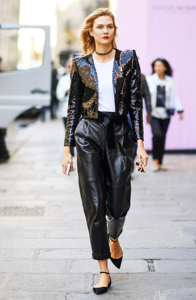 Karlie Kloss Saint Laurent Sequin Jacket Paris Fashion Week 2016