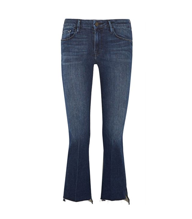 Frame Le Crop Mini Frayed Mid-Rise Bootcut Jeans