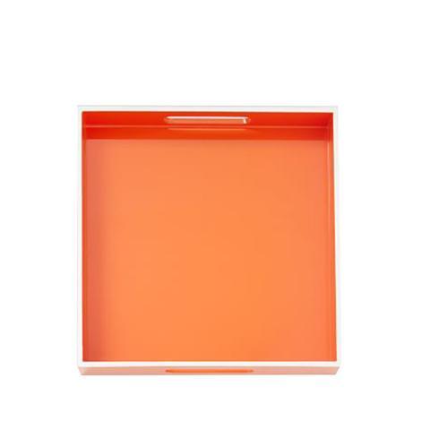 White Rim Lacquer Tray in Orange