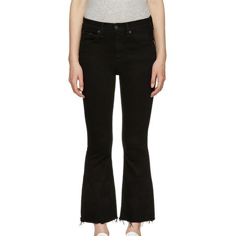 Black Crop Flare Jeans