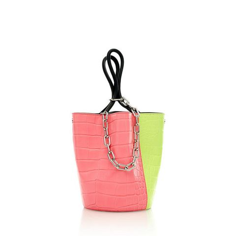 Roxy Large Tote in Croc Flou Pink and Yellow