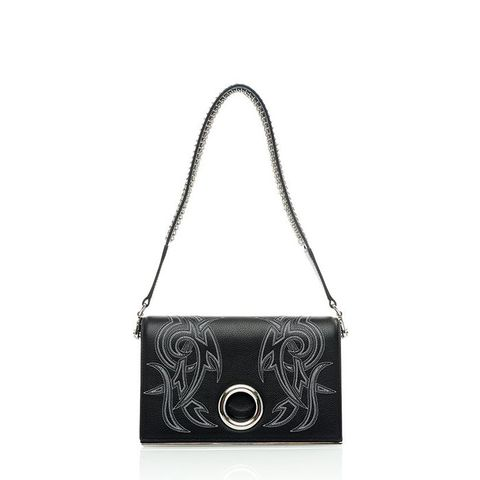 Riot Embroidered Tattoo Print Convertible Clutch