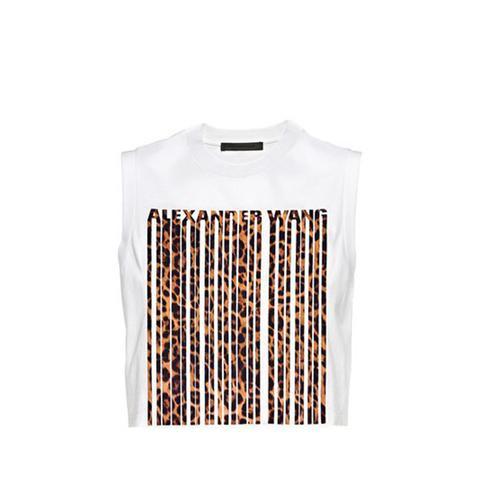 Leopard Print Bonded Barcode Crop Top