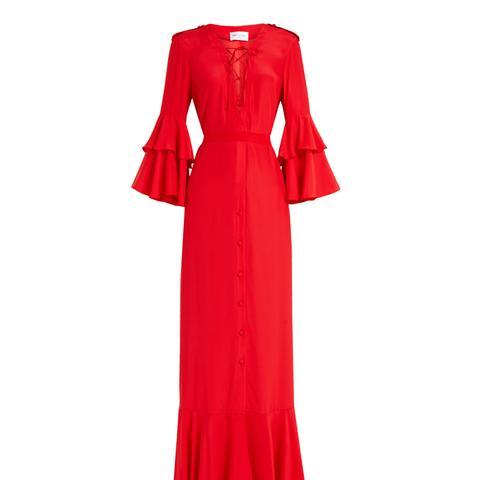 Aria Ruffled-Sleeve Silk Gown