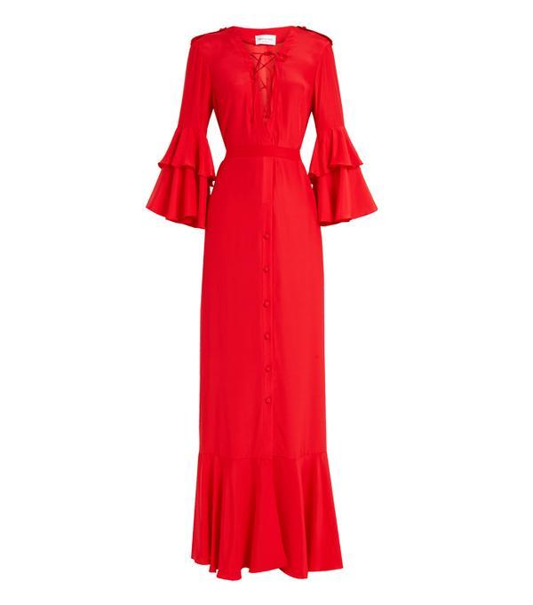 Best party dresses: Raquel Diniz Aria Ruffled-Sleeve Silk Gown
