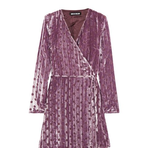 Polka-Dot Crushed Devoré-Velvet Wrap Mini Dress