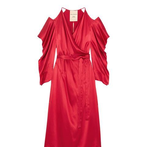 Serena Cold-Shoulder Silk-Satin Wrap Dress