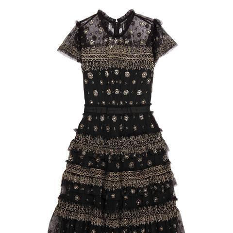 Andromeda Ruffled Embellished Tulle Mini Dress