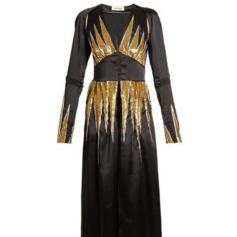Suzanne Sequin-Embellished Satin Dress