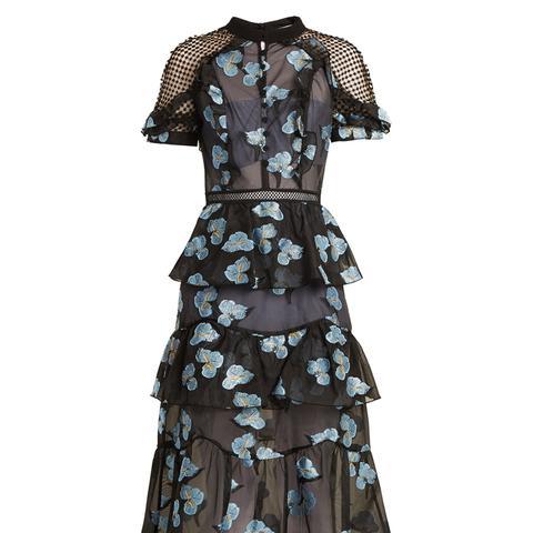 Open-Back Floral Fil Coupé Midi Dress