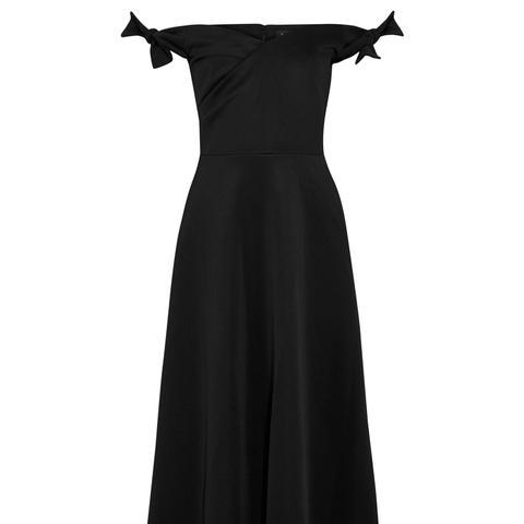 Ruth Off-the-Shoulder Neoprene Midi Dress