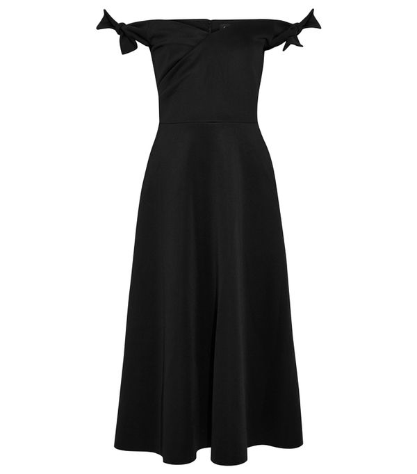 Best party dresses: Marks & Spencer Floral Print Flared Bardot Midi Dress