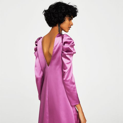 Puffed-Shoulder Satin Dress