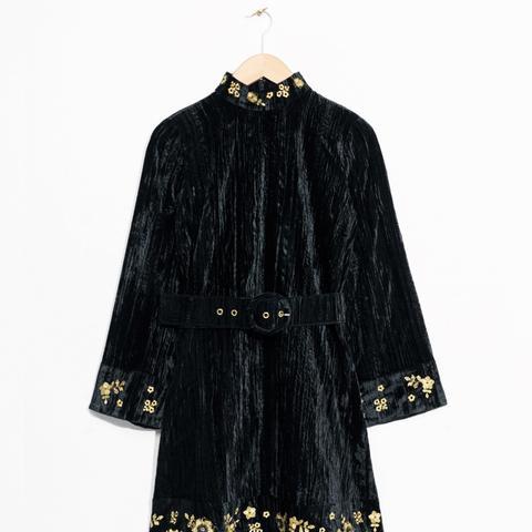 Velveteen Embroidery Dress