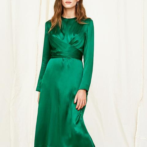 Simone Silk Tie Waist Dress