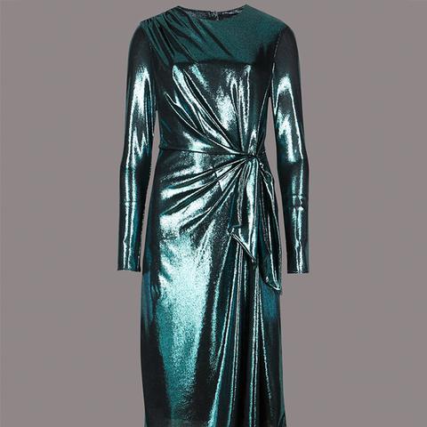 Sparkly Long Sleeve Bodycon Midi Dress