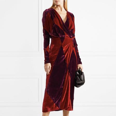 Victoria Two-Tone Velvet Wrap Dress