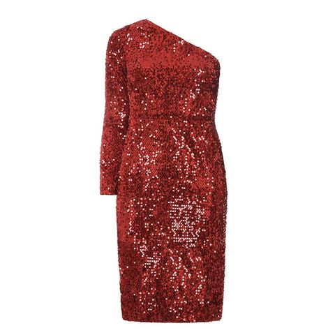 Red One Shoulder Sequin Dress