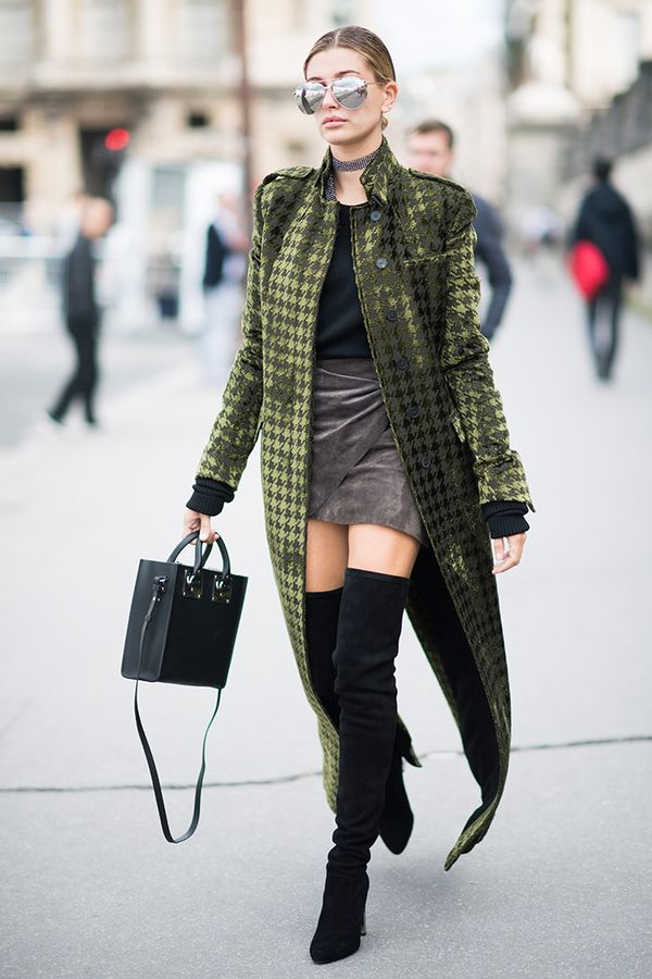Statement Coat + Top + Wrap Skirt + Thigh-High Boots