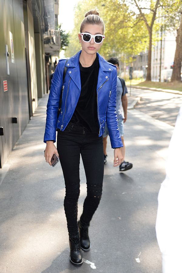 Leather Jacket + Sweater + Jeans + Moto Boots