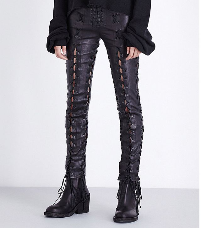 Unravel Skinny Lace-Up Leather Trousers