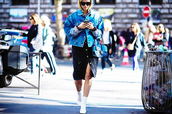 On Pernille Teisbaek: Balenciaga Swing Jacket($995); Chanel bag.