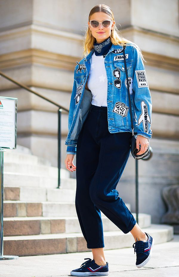 On Constance Jablonski: Frame Le Original Patch Jacket ($575); Indigo Capsule Collection by AG The Hexa Pri Pant ($278).
