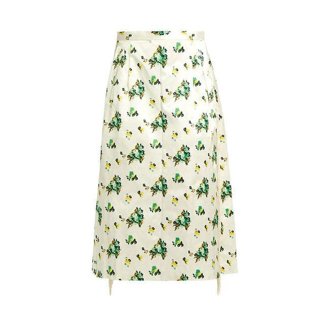 Toga Floral Print A-Line Midi Skirt