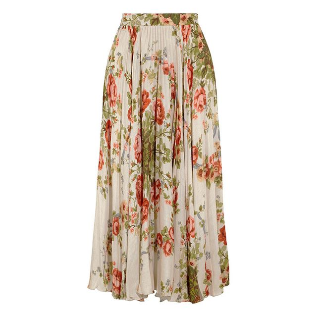Gucci Pleated Floral-Silk Skirt