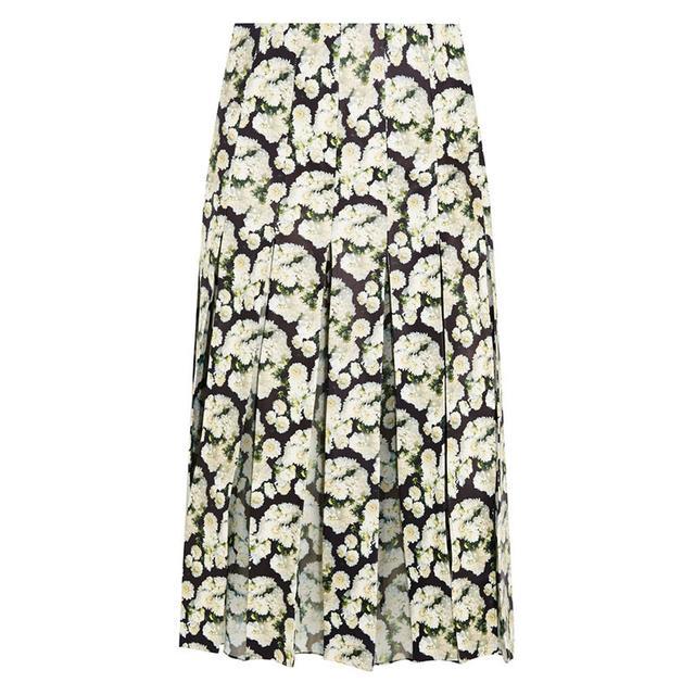 Adam Lippes Pleated Floral Print Skirt