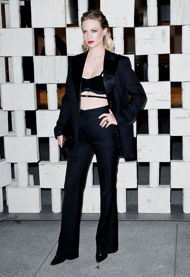 WHO: January Jones WEAR: Bottega Veneta blazer and pants.