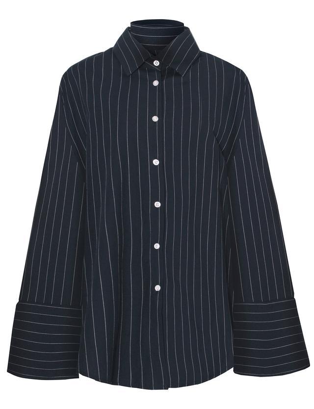 Pixie Market Navy Pinstripe Oversize Wide Cuff Shirt