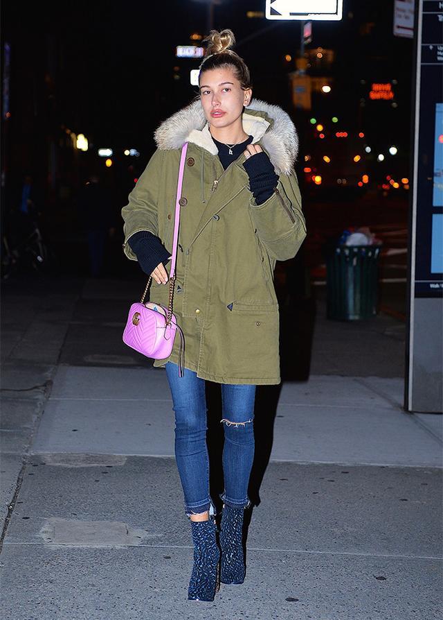 Hailey Baldwin walking in NYC.