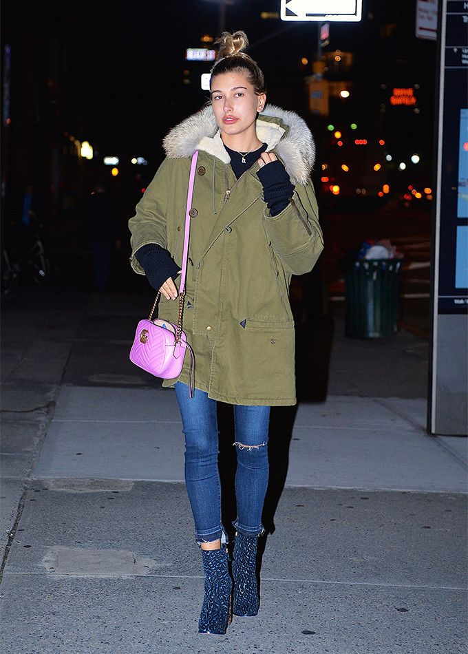 Hailey Baldwin walking in NYC.