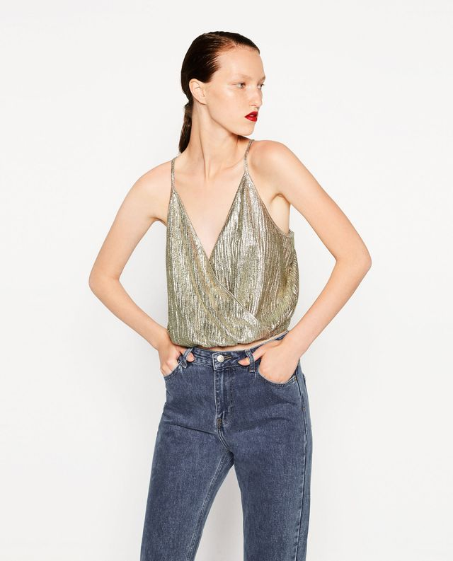 Zara Shiny Cropped Top
