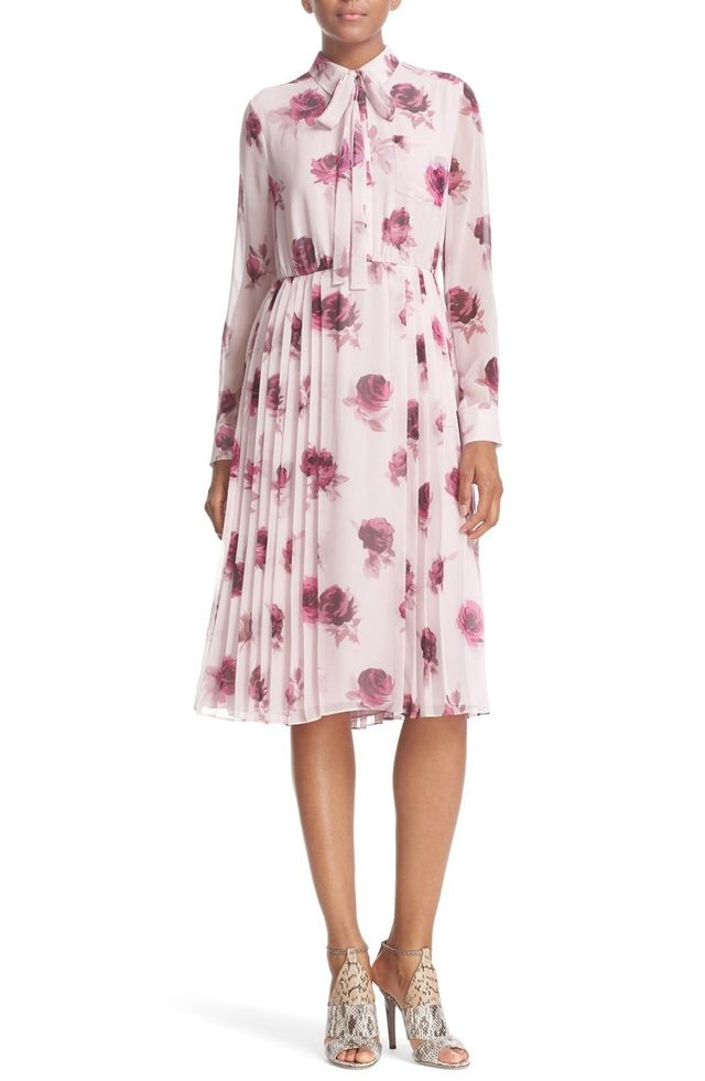 Kate Spade Encore Rose Tie Neck Pleat Chiffon Dress